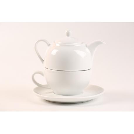 Ceainic din portelan cu ceasca si farfurie
