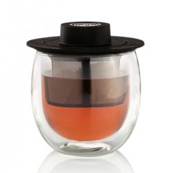 Ceasca de ceai cu pereti dublii, infuzor si capac