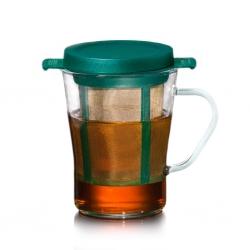 Cana de ceai cu infuzor si capac 200ml Verde
